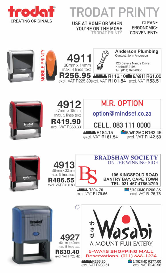 Trodat Printy Self Inking Rubber Stamps