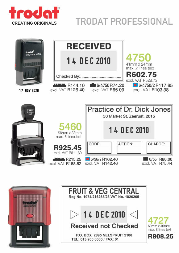 Trodat Professional Self Inking Rubber Stamps